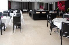 Monte Real - Hotel, Termas e Spa by Antonio Garcia Arquitectos Lda. #hotel #spa #termas #luxury #marble #darkemperador #montereal #leiria #portugal #renovation #reabilitacao #marmore #restaurant #restaurante #blackandwhite #pretoebranco #wallpaper #papeldeparede #buffet