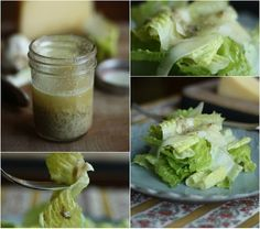 Classic (not creamy) Caesar dressing ~ garlic bulb, olive oil, capers, caper juice, Dijon mustard, lemon juice, salt, pepper, olive oil, romaine hearts, Parmigiana Reggiano cheese