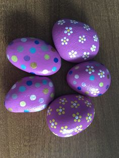 Pink Easter Rocks with polka dots and daisies - #1ER by GodsGlitter on Etsy