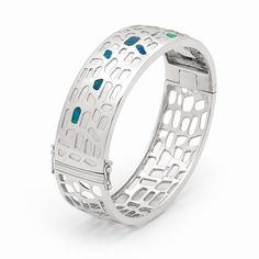 8 stone Free Shape Free Form Modern Sterling silver bangle with fine Australian natural Inlay Opals, creating an unique item #opals #opalsau #opalsaustralia