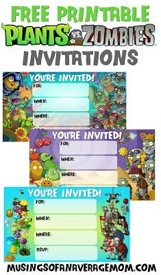 Free Printable Plants Vs Zombies Birthday Invitations