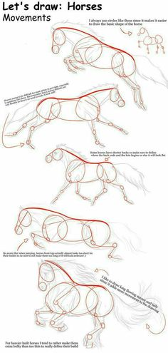 Notice how each horse is expressed in one dark red line. That is the movement line, the gesture. Always draw that first with a dynamic figure drawing. Know roughly where you're going before you start drawing.