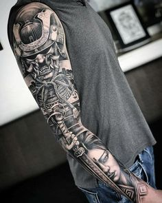 Geisha Tattoo Sleeve, Samurai Tattoo Sleeve, Japanese Sleeve Tattoos, Full Sleeve Tattoos, Tattoo Sleeve Designs, Tattoo Designs Men, Geisha Tattoo For Men, Japanese Geisha Tattoo, Geisha Tattoos