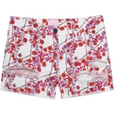 GIAMBA Poppy Love Red White // Patterned denim shorts ($360) ❤ liked on Polyvore featuring shorts, white denim shorts, ripped shorts, distressed shorts, destroyed denim shorts and jean shorts