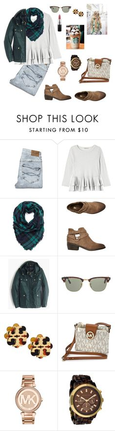 """Untitled #57"" by charlotteborland on Polyvore featuring Abercrombie & Fitch, Rebecca Taylor, BC Footwear, J.Crew, Ray-Ban, Tory Burch, Michael Kors, MAC Cosmetics, women's clothing and women's fashion"