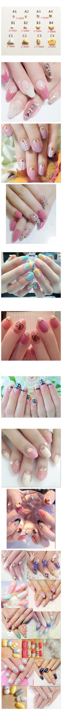$3.20 20Pcs/set Flower Triangle Star Super Mini Nail Studs Fashion 3D Nail Art Decoration - BornPrettyStore.com