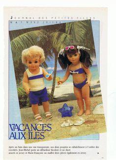 PAR AMOUR DES POUPEES :: M&T 1984-07 tenues de plage pour Jean-Michel et Marie-Françoise (couture)