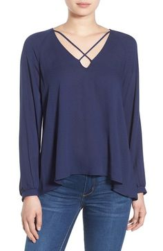 Lush Strappy Long Sleeve Woven Blouse