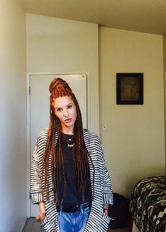 Box braids, protective style, white girl box braids, red box braids, boho box braids
