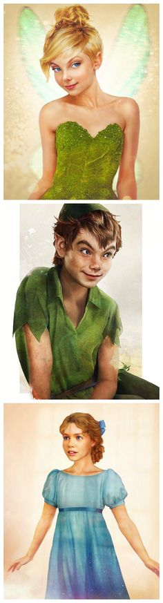 Peter Pan as real life characters by Jirka Väätäinen Design: Tinkerbell, Peter Pan, and Wendy