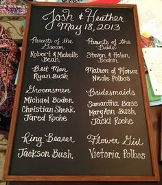 Chalkboard sign for wedding ceremony in lieu of paper programs. A better idea than handing everyone a paper program that they are just gonna throw out later