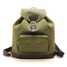 Louis Vuitton Montsouris GM Monogram Mini Backpacks Green Cotton M92456