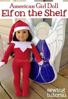 American Girl Doll Elf on the Shelf Outfit Sewing Tutorial #AmericanGirlDoll #ElfontheShelf #Christmas #Elf #SewingforDolls
