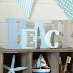 Seashore Beach Wooden Word-BLUES