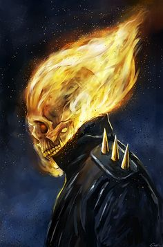 This is a side portrait of the Ghost Rider. I created the piece to figure out how to paint his flaming skull and which color scheme I may want to use for an upcoming Ghost Rider artwork. Marvel Comics, Marvel Art, Marvel Heroes, Flash Comics, Captain Marvel, Ghost Rider Johnny Blaze, Ghost Rider Marvel, Ghost Rider Movie, Comic Book Characters
