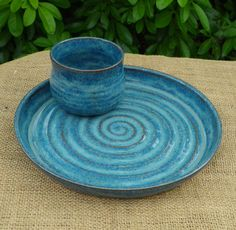 Chip and dip set hors d'oeuvres hand thrown in stoneware ceramic pottery.