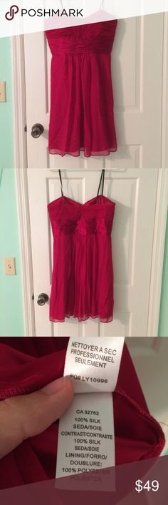 Pink fucsia magenta flowy silk strapless dress Worn once! Beautiful pink silk strapless dress. Tag is missing but is a size medium. Also has a small snag on the bottom in the back, not noticeable. Make an offer! Laundry By Shelli Segal Dresses Strapless