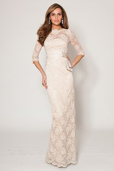 Modest Champagne Lace 3/4 Sleeve Gown with Taffeta Waistband | Teri Jon $890
