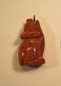 Vintage Howling Wolf Goldstone Charm or Pendant by KingJickie, $18.00