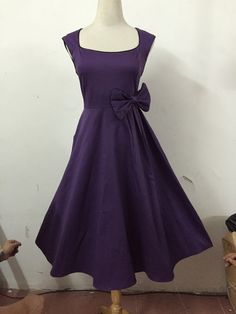 Purple Vintage Dress with Bow