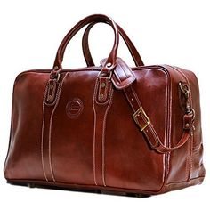 Cenzo Trunk Duffle Vecchio Brown Italian Leather Weekender Travel Bag -- Read more  at the image link.