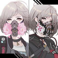 Cyberpunk Schoolgirls - A revolutionist, Park JunKyu Cyberpunk Anime, Arte Cyberpunk, Gas Mask Art, Masks Art, Gatos Cool, Cyberpunk Aesthetic, Animes Yandere, Science Fiction Art, Digital Art Girl