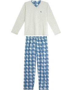 Pijama Masculino Lua Cheia Calça Xadrez Aflanelada  5a36c5e3ee8