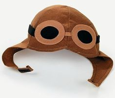 This fun aviator hat is made out of felt and includes sewn-on goggles. It is fun for any child, boy or girl. It also has a Velcro clasp at the bottom.