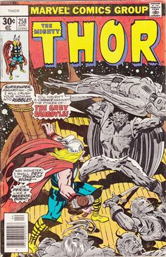 Comic - Thor 258 - Marvel Comics - Vintage Bronze Age (1977) - Skurge, Enchantress and Grey Gargoyle Appearance, Jack Kirby Cover