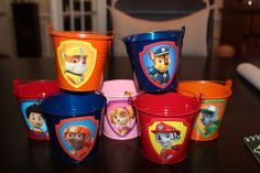 Set of 7 Paw Patrol Party Favor Tin Pails- Two Sided!