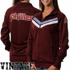 Nike Philadelphia Phillies Women's Cooperstown Track Jacket - Maroon