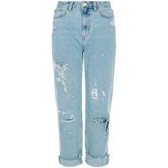 Blue Ripped Roll Hem Mom Jeans ($12) ❤ liked on Polyvore featuring jeans, rolled up jeans, destructed jeans, destruction jeans, blue jeans and distressing jeans