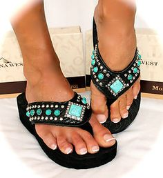 Montana West Turquoise Conch Black Bling Western Wedge Flip Flops All Sizes!