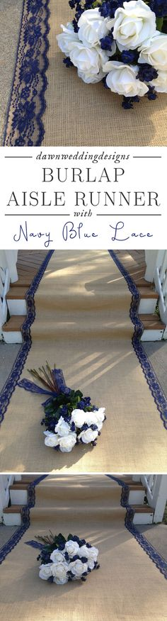 Burlap Aisle Runner with Navy/Dark Blue Lace  Rustic Wedding, Country Wedding, Barn Wedding, Outdoor/Farm Wedding, Beach Wedding