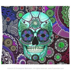 Sugar Skull Sombrero Night Tapestry - Day of the Dead Art - Fusion Idol - Art and Gifts by Artist Christopher Beikmann