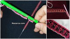 Beyaz Minik Kum Boncuklar Pembe renk Oya ipi ve Kalem ile yapılan Oya Örneği olan Kum Boncuklu Zincir Kalem Oyası Tığ İşi Yazma Kenarı Tarifi Videolu yapım aşamalı. Kum Boncukları ipe dizin ipin ucunu alı Tığ ile Kaleme ilmeği sabitleyin ilmeğin içinden tığı geçirin boncuk alıp sabitleyin. boncuklu-genis-kalem-oyasi-yapim-asamali İpin ucunu Kalemin çevresinden geçirip 1 Boncuk alıp sabitliyor ilmekler uzatarak Kalem üzerinde oyanın ilk aşamalarını bu şekilde tamamlıyor ve Oyayı kalemden…
