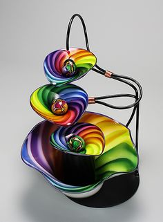 4 Bowl Rainbow Twist Fountain: Tom Bloyd: Art Glass Fountain