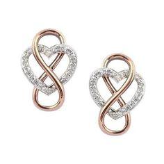 Two-Tone Infinity Heart Earrings 1/7ctw - Item 19264183 | REEDS Jewelers