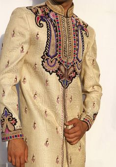 Buy Golden Brocade Readymade Sherwani 204343 online at lowest price from our mens wear collection at Indianclothstore.com. Wedding Sherwani, How To Dye Fabric, Color Shades, Lehenga Choli, Snug, Bell Sleeve Top, Menswear, How To Wear, Stuff To Buy