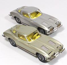 super rare Corgi Toys corvette champagne-silver version shown beneath the standard silver model Vintage Models, Vintage Toys, Miniature Cars, Corgi Toys, Remote Control Cars, Metal Toys, Diecast Models, Classic Toys, Old Toys