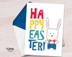 Ready to print Happy Easter Card. Happy Easter Bunny, Easter Card, Printables, Handmade Gifts, Cards, Etsy, Vintage, Products, Kid Craft Gifts