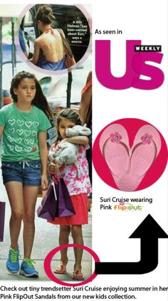 "How cute is Suri Cruise wearing our pink FlipOut Sandals while ""kid""ding around in NYC!"