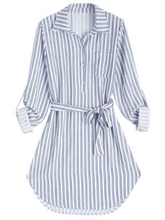 Stripe Fall and Spring Yes Striped Long Shirt Knee-Length Straight Causal and Going Casual Belted Striped Long Sleeve Shirt Dress Striped Long Sleeve Shirt, Long Sleeve Shirt Dress, Striped Dress, Long Sleeve Shirts, Belted Dress, Dress Long, Casual Dresses, Casual Outfits, Fashion Dresses