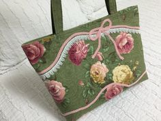 Pink and Yellow Cottage Roses Quilted Tote Bag, large Handmade Handbag, Mother's Day gift idea, sage Green , Victorian, large Roses by LizBagz on Etsy