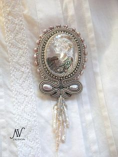 Soutache embroidered brooch Tenderness by AnnetaValious on Etsy, $160.00