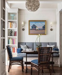 Dreamy nook by Andrew Maier Interiors. Loving the mix of the built-in bookcases and seat with the gorgeous wicker chairs. White and blue. Banquette Dining, Dining Chairs, Wicker Chairs, Blue Chairs, Room Chairs, White Furniture, Cheap Furniture, Kitchen Furniture, Plywood Furniture