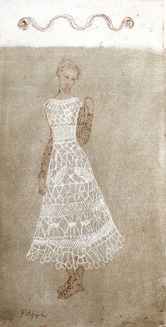 Artwork by Emmi Vuorinen Love Couture, Shades Of Beige, Artwork Images, Creative Skills, Whimsical Art, Lace Design, White Art, Love Art, Textile Art
