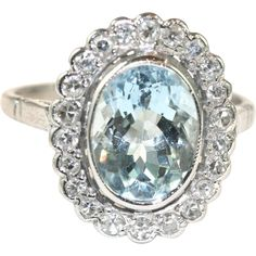 Vintage English Art Deco 18 carat white gold Aquamarine Diamond Cluster ring @rubylanecom #diamonds #rubylane