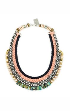 Lizzie Fortunato Rose Hall Necklace at Moda Operandi  This multi-media necklace features braided leather, braided thread, silver-plated box chain links, freshwater pearls and turquoise beads at the bib