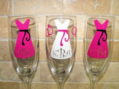 Four Personalized Bridesmaid Gifts - Champagne Glasses - by MaggiesCraftTime, $48.00
